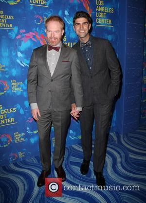 Jesse Tyler Ferguson, Justin Mikita, Julie Bowen and Nolan Gould at the Los Angeles LGBT Center's 47th Anniversary Gala Vanguard...