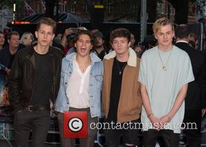 The Vamps (Connor Ball, Bradley Simpson, James McVey and Tristan Evans) at the European Premiere of 'Deepwater Horizon' held at...