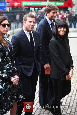 Dermot O'Leary and Claudia Winkleman arrive at the Service of Thanksgiving for Sir Terry Wogan. Friends, Family and colleagues gather...