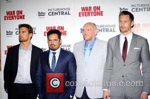 Theo James, Michael Pena, John Michael McDonagh and Alexander Skarsgard at the 'War on Everyone' UK Premiere held at PictureHouse...