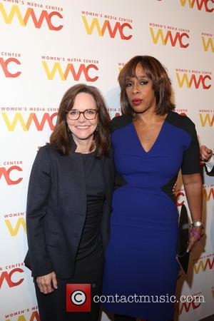 Sally Field posing for photographs alone and with various guests including Anita Sarkeesian and Gayle King at The Women's Media...