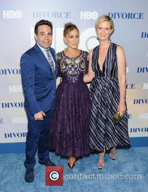 Mario Cantone, Sarah Jessica Parker and Cynthia Nixon at the New York Premiere of HBO's new series 'Divorce' held at...
