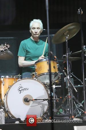 Charlie Watts with the rest of The Rolling Stones seen performing at Desert Trip festival held at Coachella Valley, Los...