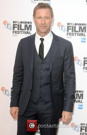 Aaron Eckhart seen alone and with Miles Teller at the BFI London Film Festival premiere of 'Bleed For This', London,...