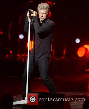 Jon Bon Jovi performs live on stage at the London Palladium, in the West End of London, United Kingdom -...