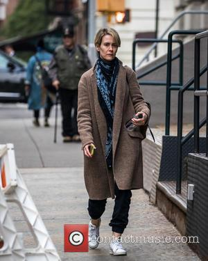 Actress Sarah Paulson out and about suited up for fall in New York City, United States - Thursday 13th October...