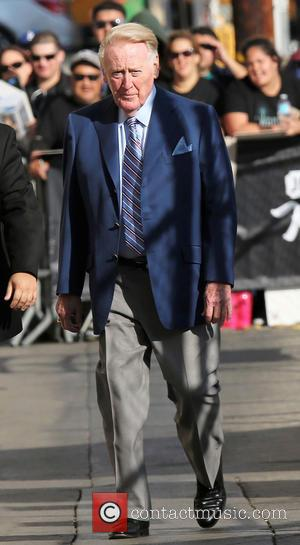 American sportscaster Vin Scully arrives at the ABC studios for a recording of Jimmy Kimmel Live! Hollywood, California, United States...