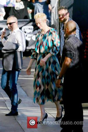 Actress Tilda Swinton seen at the ABC studios for the recording of Jimmy Kimmel Live! - Hollywood, Los Angeles, California,...