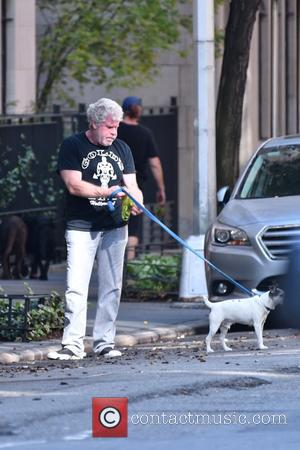Ron Perlman walking his dog in the East Village, Manhattan, New York, United States - Thursday 20th October 2016