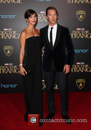 Benedict Cumberbatch seen alone and with his wife Sophie Hunter seen at the premiere of Disney And Marvel Studios' new...
