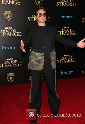 Robert Downey Jr. seen at the premiere of Disney And Marvel Studios' new movie 'Doctor Strange' held at the El...