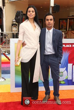 Kunal Nayyar and Neha Kapur at the premiere of 20th Century Fox's 'Trolls' held at Regency Village Theatre, Westwood, California,...
