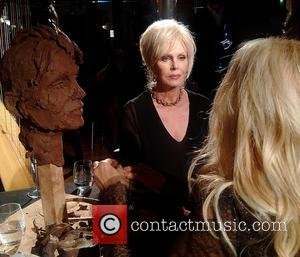 Joanna Lumley attends a private view of 'Heads at the Tower' A Retrospective by Royal sculptor Frances Segelman held at...