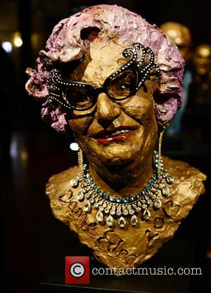 A sculpture of Dame Edna Everage is one of the pieces at the Heads at the Tower A Retrospective exhibition...