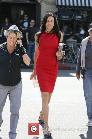 Sharon Stone and Famke Janssen seen filming Susan Walter's upcoming comedy movie 'A little something for your birthday' at the...