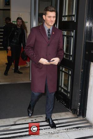 Michael Bublé pictured arriving at the Radio 2 studio at BBC Portland Place, London, United Kingdom - Friday 28th October...