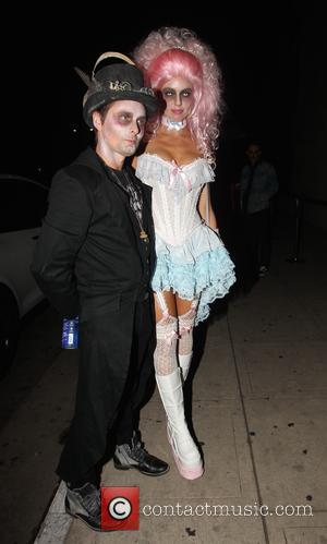Matt Bellamy and girlfriend Elle Evans arrive in costume for a Halloween party in Los Angeles, California, United States -...