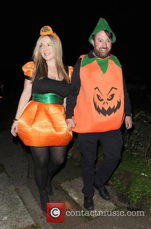 David Mitchell and Victoria Coren Mitchell attends Jonathan Ross' annual Halloween party held at his home - London, United Kingdom...