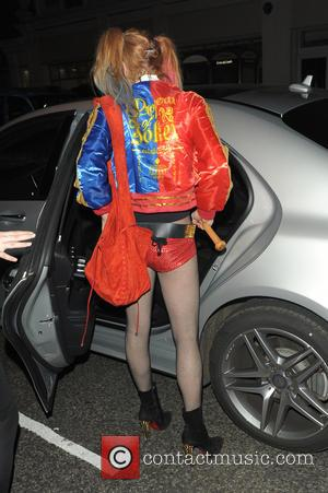 Lindsay Lohan dressed as Harley Quinn at Fran Cutler's Halloween Party held at Albert's in London, United Kingdom - Monday...
