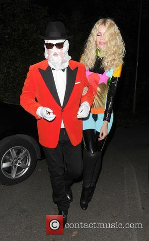 Claudia Schiffer and Matthew Vaughn attend Jonathan Ross' annual Halloween party held at his home - London, United Kingdom -...