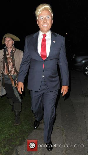 David Walliams dressed as Donald Trump to attend Jonathan Ross' annual Halloween party held at his home - London, United...