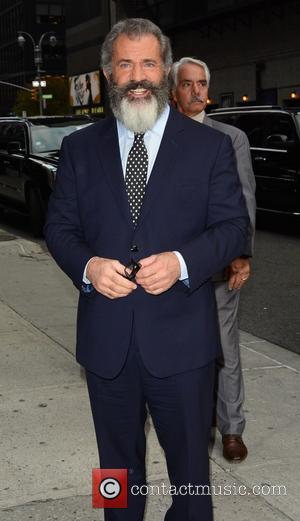 Mel Gibson is all smiles as he goes to film an episode of 'The Late Show with Stephen Colbert' New...