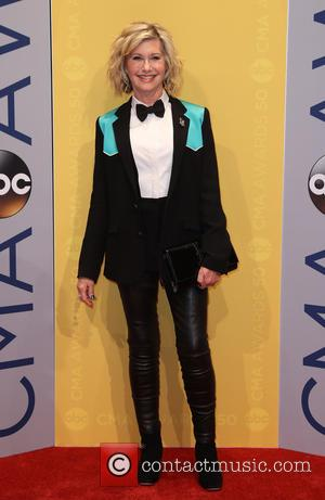 Olivia Newton-John seen arriving at the 50th annual CMA (Country Music Association) Awards held at Music City Center in Nashville,...