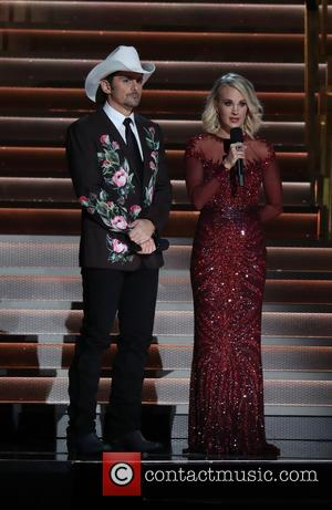 Brad Paisley on stage at the 50th annual CMA (Country Music Association) Awards held at Music City Center in Nashville,...