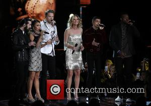 Jennifer Nettles and Pentatonix on stage at the 50th annual CMA (Country Music Association) Awards held at Music City Center...
