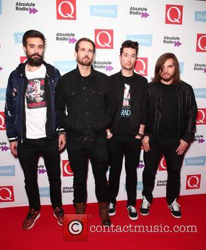 Bastille, (Will Farquarson, Kyle Simmons, Dan Smith and Charlie Barnes) seen arriving at the 2016 StubHub Q Awards, London, United...