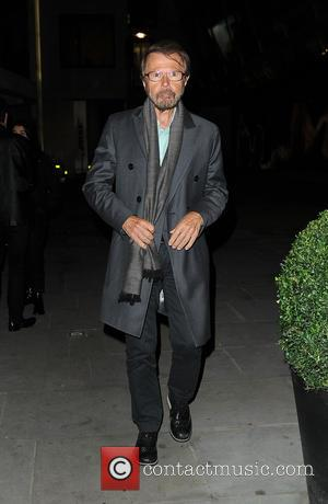 Benny Andersson and Björn Ulvaeus of ABBA seen on a night out with Simon Fuller at Ristorante Frescobaldi in Mayfair,...