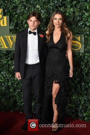 Elizabeth Hurley and Son