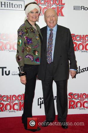 Julian Fellowes and Emma Joy Kitchener on the red carpet for the opening night of School of Rock held at...