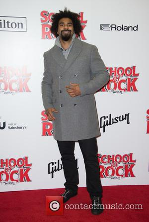 David Haye on the red carpet for the opening night of School of Rock held at New London Theatre -...