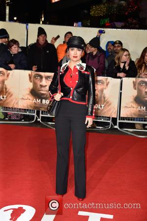 Salma Hayek attends the World Premiere of I Am Bolt held at the Odeon Leicester Square, London, United Kingdom -...