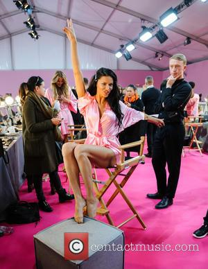 Adriana Lima backstage in Hair & Makeup at the 2016 Victoria's Secret Fashion Show held at Grand Palais, Paris, France...