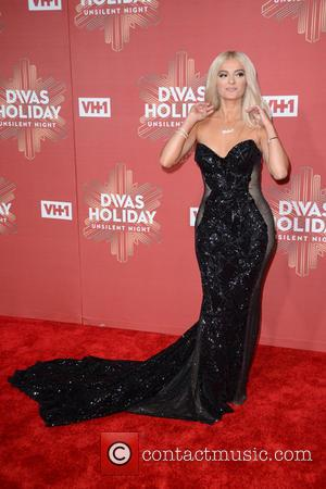 Bebe Rexha seen on the red carpet at the VH1's Divas Holiday: Unsilent Night held at Kings Theater - New...