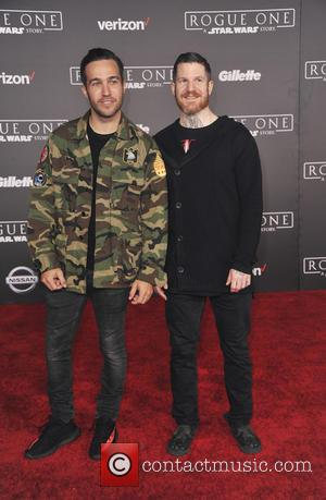 Pete Wentz and Andrew Hurley at the World premiere of 'Rogue One: A Star Wars Story' held at Pantages Theatre,...