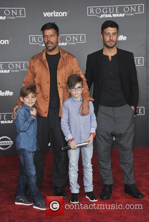 Ricky Martin seen alone and with his family at the World premiere of 'Rogue One: A Star Wars Story' held...