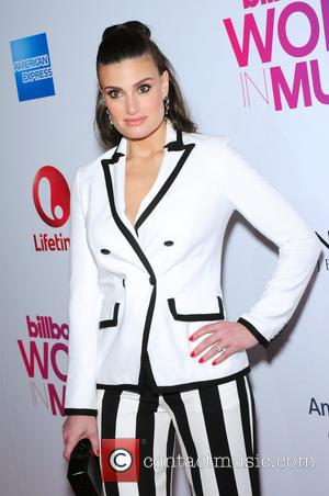 Idina Menzel seen on the red carpet at the 2016 Billboard Women In Music event held at Pier 36, New...