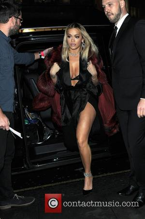 Rita Ora arrives at Tenezis Oxford Circus for her in-store live performance at special evening event launching her Tezenis Italian...