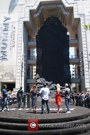 Sofia Boutella, Annabelle Wallis and Tom Cruise unveil a massive 75-foot, seven-ton sarcophagus at Hollywood and Highland - Los Angeles,...