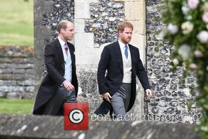 Prince Harry and Prince William at the wedding of Pippa Middleton and James Matthews held at St Mark's Church -...