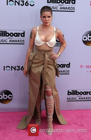 Halsey on the red carpet at the 2017 Billboard Music Awards held at T-Mobile Arena. Drake walked away as the...