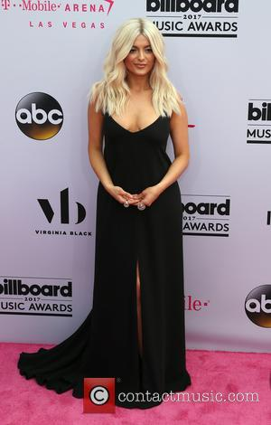 Bebe Rexha on the red carpet at the 2017 Billboard Music Awards held at T-Mobile Arena. Drake walked away as...