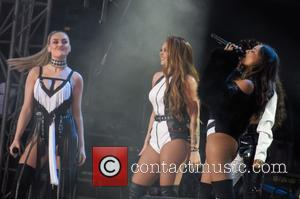 Little Mix seen on stage at Ariana Grande's One Love Manchester concert - The concert was set up to benefit...