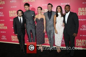 Edgar Wright, Ansel Elgort, Lily James, Jon Hamm, Eiza Gonzalez and Jaime Foxx at the L.A. premiere of Sony Pictures'...