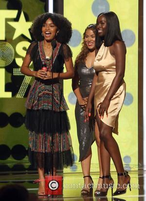 Yara Shahidi and Megan Sumptonr on stage at the 2017 BET Awards held at Microsoft Square - Los Angeles, California,...