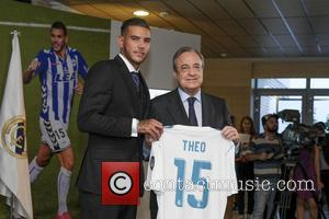 Theo Hernandez is unveiled by Real Madrid at the club's Santiago Bernabeu stadium in Madrid, Spain, after signing a six-year...