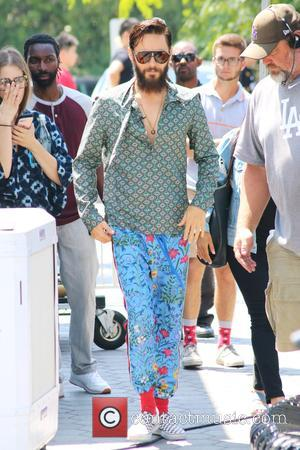 Jared Leto - Jared Leto arrives for his interview on the entertainment show 'Extra' at Universal Studios sporting a large...